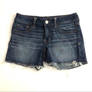 American Eagle Size 4 Shortie Cut Off Jean Shorts